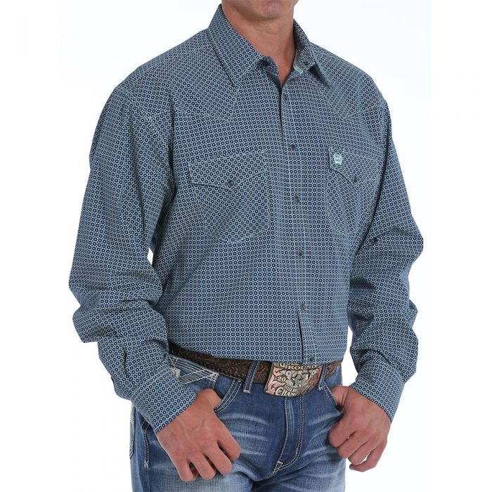 Cinch Men's Navy Print Snap Shirt