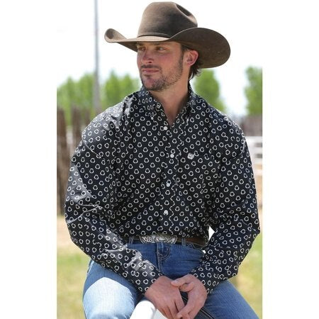 Cinch Men's Shark Bite Black L/S Western Shirt
