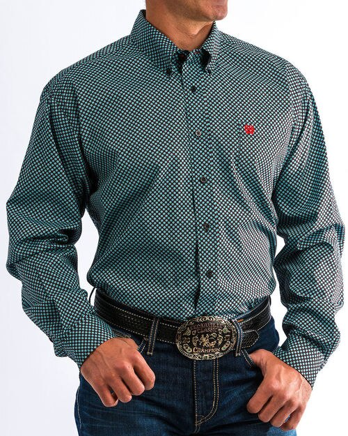 Cinch Men's Blue And Black Diamond Print Western Shirt