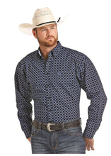 Load image into Gallery viewer, Panhandle Slim Men's Royal Blue And Black Diamond Print Snap Shirt
