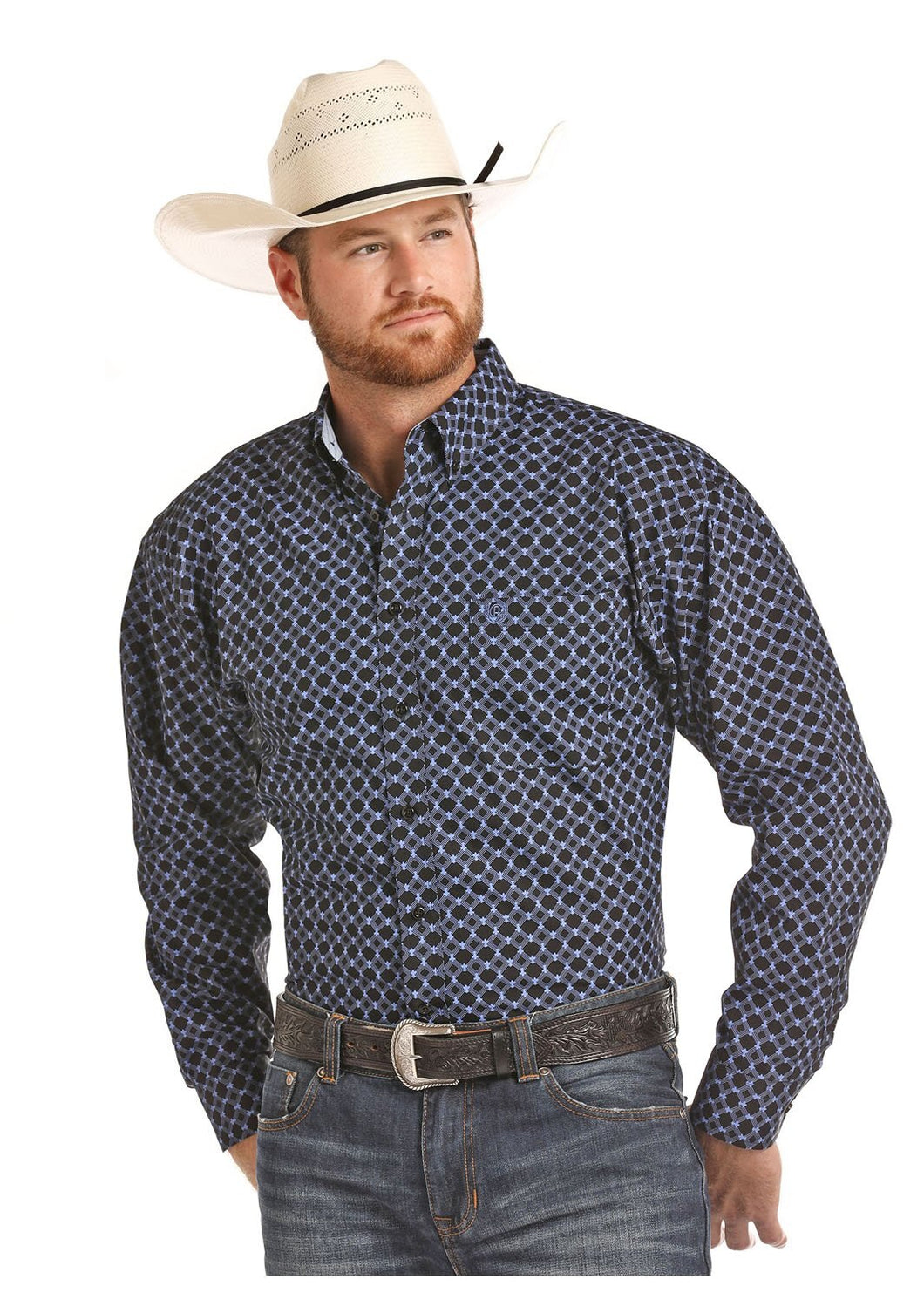 Panhandle Slim Men's Royal Blue And Black Diamond Print Snap Shirt