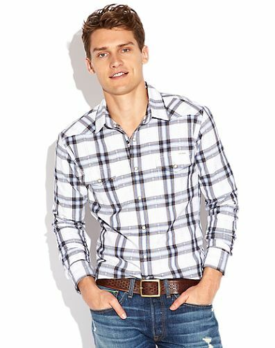 Lucky Brand Men's L/S Everett Plaid Western Shirt