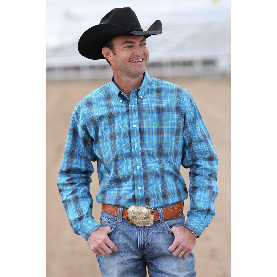 Cinch Blue And Green Plaid Western Shirt