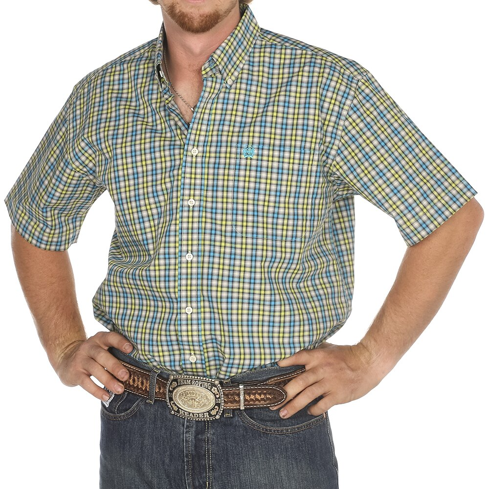Cinch Men's Classic Multi Plaid Button Short Sleeve Western Shirt