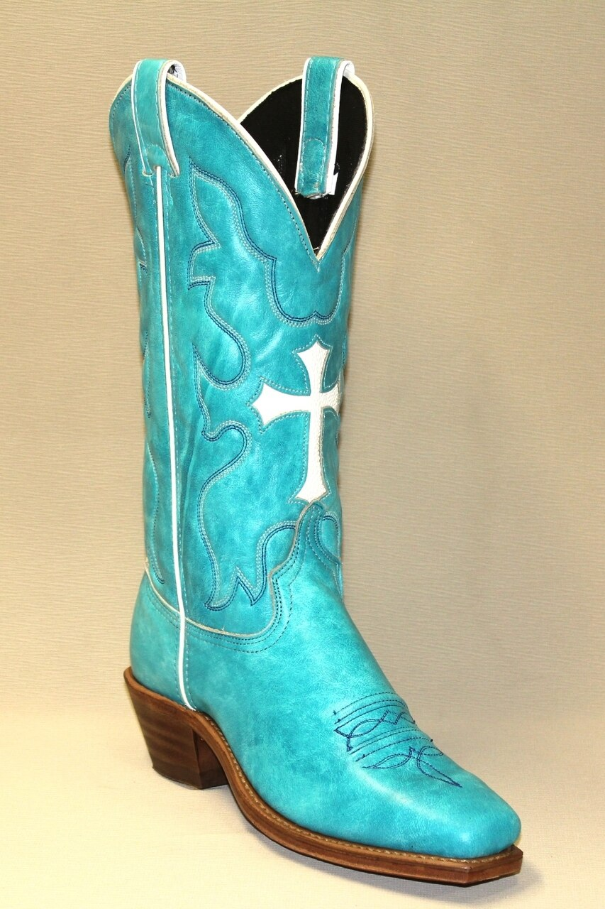 Abilene Women's Boots Turquoise With Cross