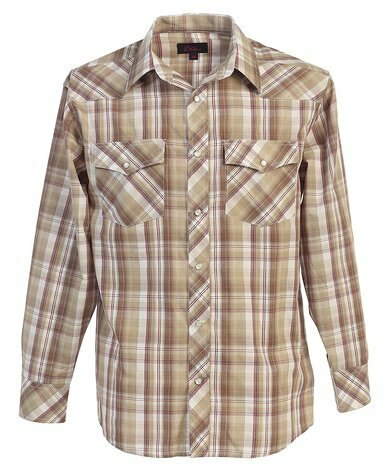 Studio 10 Biege Plaid Checked Pearl Snap Men's Shirt