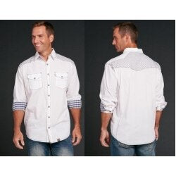 Cowboy Up Men's White Enzyme Washed Fashion Snap Shirt