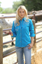 Load image into Gallery viewer, Cruel Girl Western Shirt Womens L/S Woven Solid Turquoise