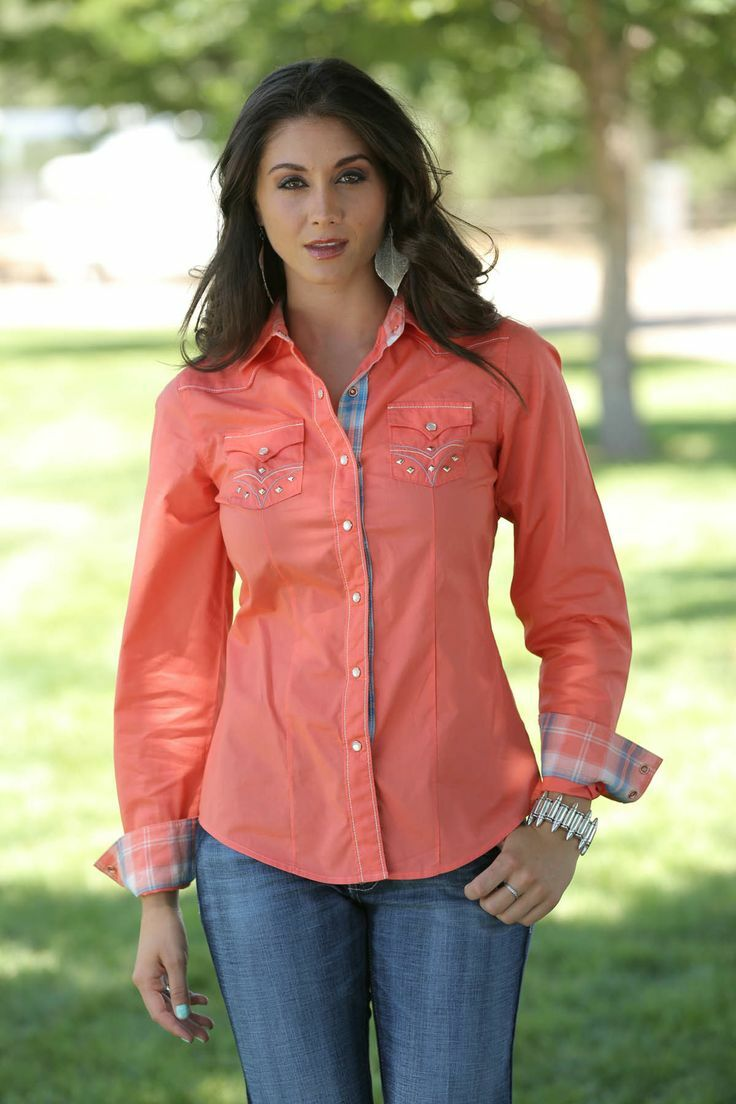 Cruel Girl Women's Coral Embroidered Western Snap Shirt