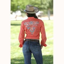 Load image into Gallery viewer, Cruel Girl Women's Coral Embroidered Western Snap Shirt