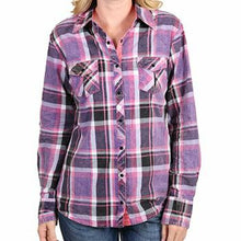Load image into Gallery viewer, Cowgirl Up Women's Crinkle Plaid Long Sleeve Shirt (Free Shipping)