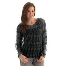 Load image into Gallery viewer, Cowgirl Tuff  Women's Black Lace Crochet Top
