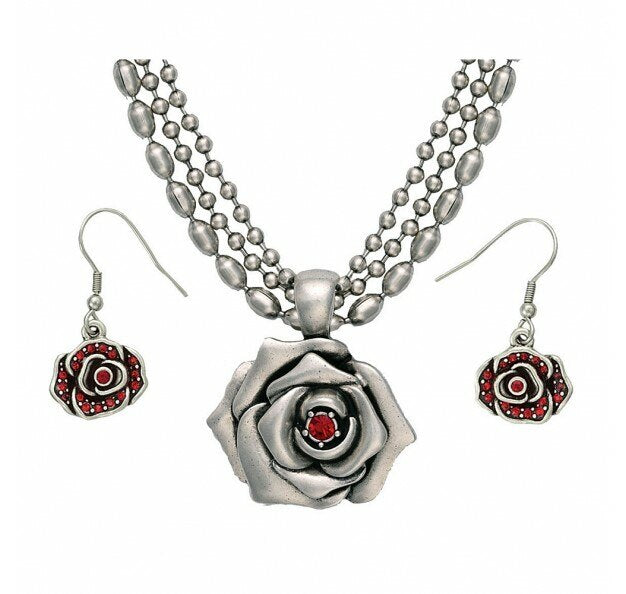 Montana Silversmith's Wild Red Rose Beaded Jewelry Set