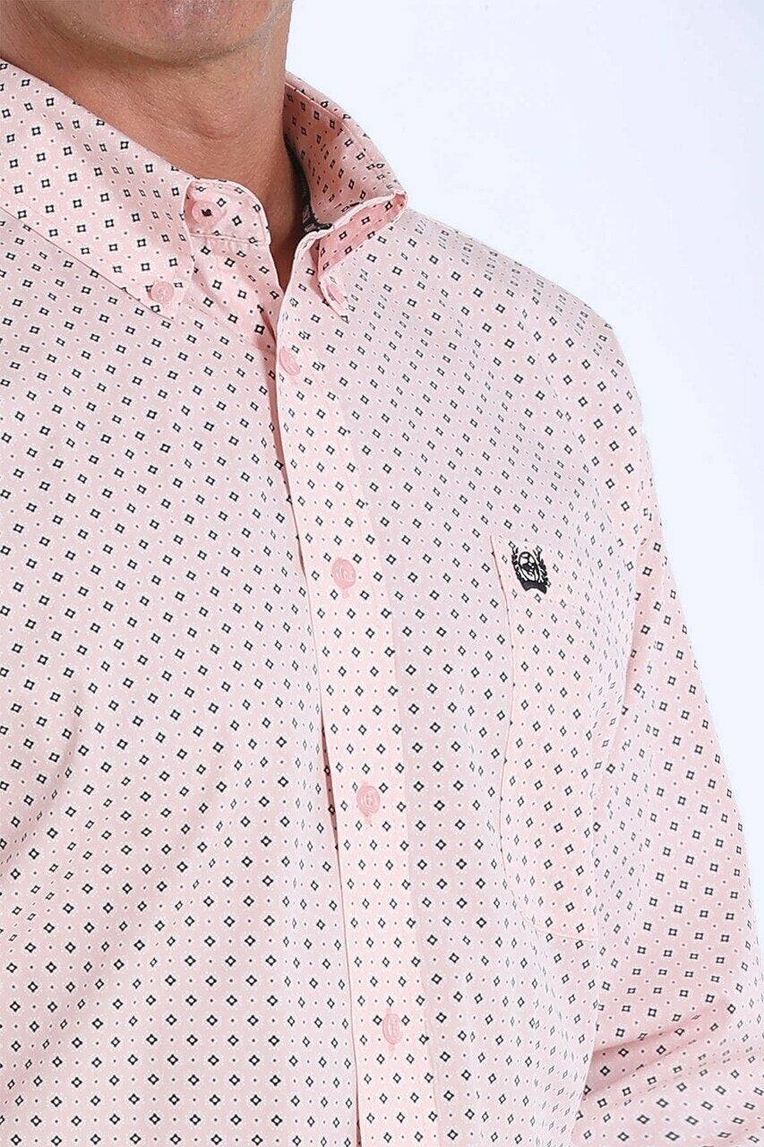 Cinch Men's Pink Printed Button Down L/S Shirt