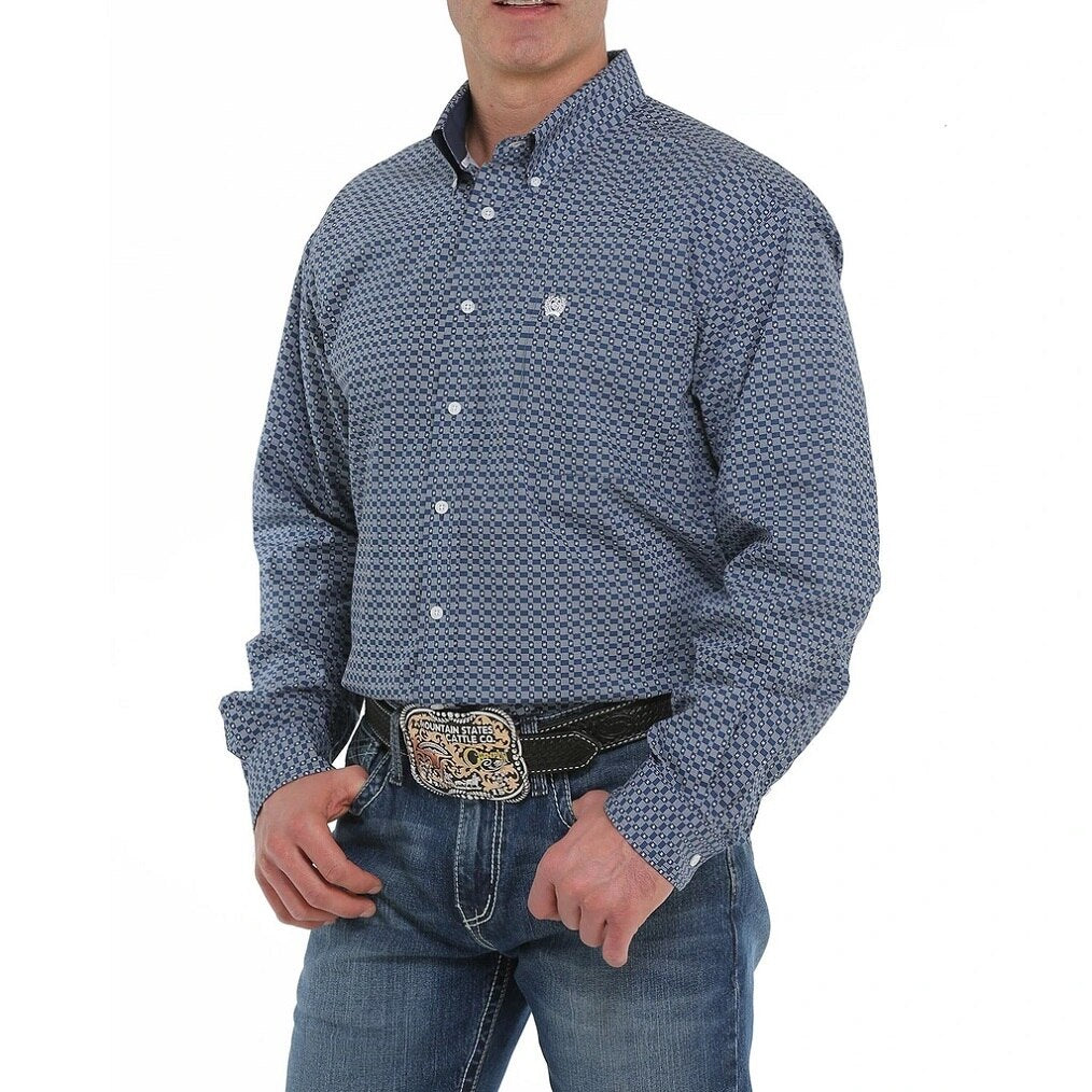 Cinch Men's Navy Blue And White Geometric Print Western Shirt