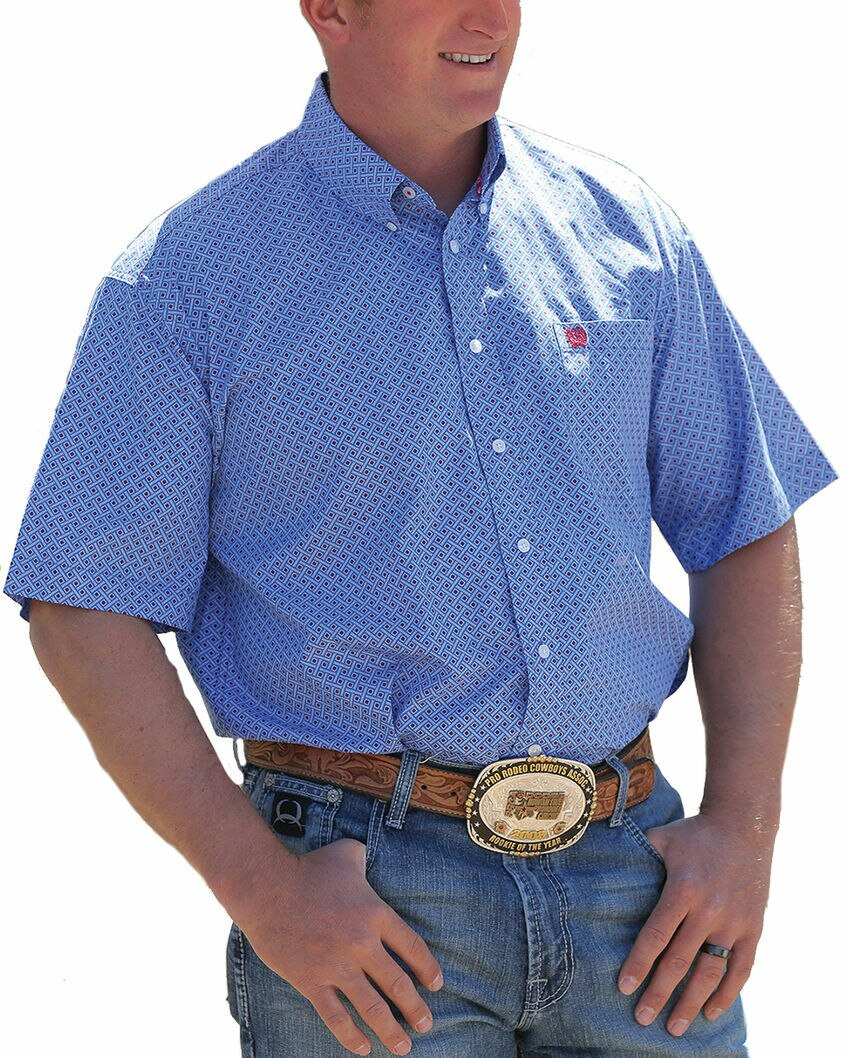 Cinch Men's Blue Print Short Sleeve Western Shirt