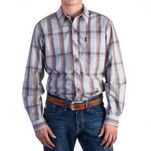 Load image into Gallery viewer, Cinch Men's L/S Piped Stripe Button Gray Blue Western Shirt