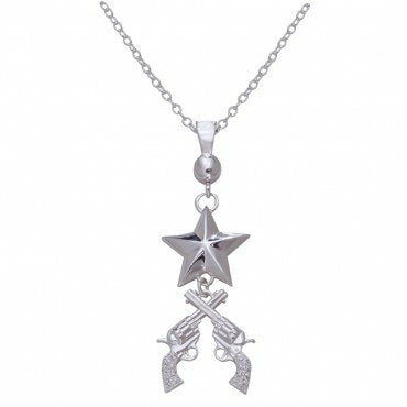 Montana Silversmiths Ladies Silver Star Crossed Pistols Necklace
