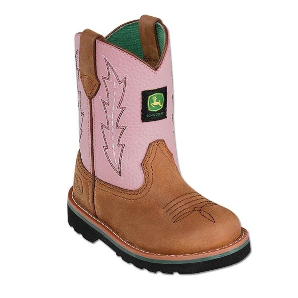 John Deere Toddler Pink Leather Wellington Boot