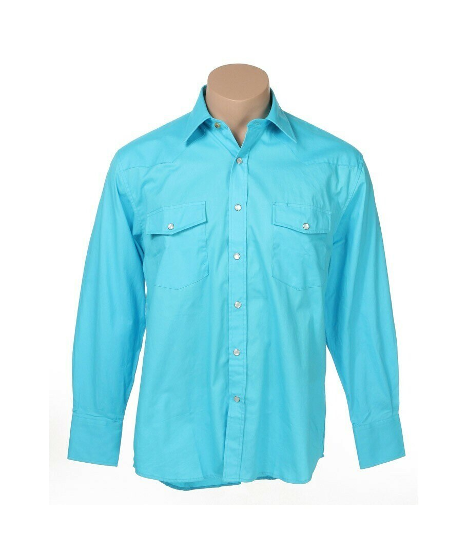 Rodeo Men's L/S Light Blue Button Down Western Shirt