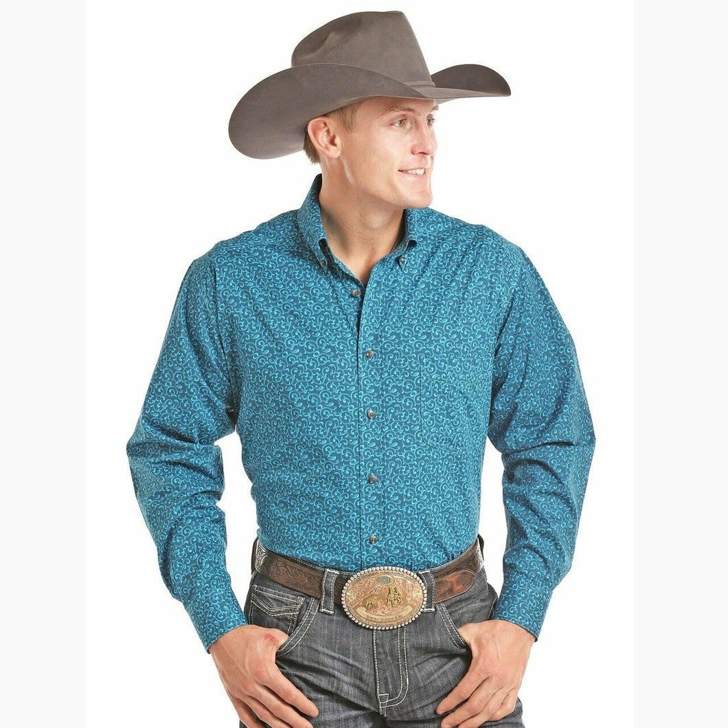 Panhandle Men's Turquoise Print Long Sleeve Western Shirt