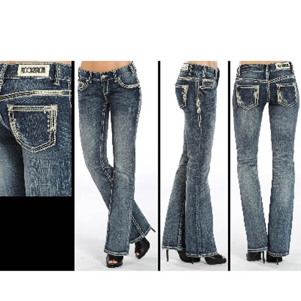 Rock and Roll Cowgirl Medium Wash Thick Stitch women's Jeans