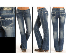 Load image into Gallery viewer, Rock & Roll Cowgirl Juniors Aztec Rhinestone Mid Rise Boot Cut Jeans
