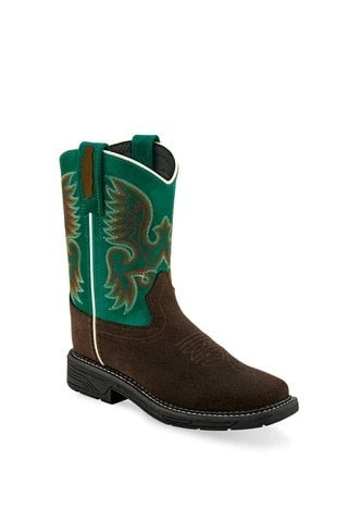 Old West Green/Brown Childrens Leather Western Stitch Cowboy Boots