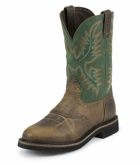 Justin Men's Green Round Toe Work Boot (Free Shipping)