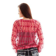 Load image into Gallery viewer, Cowgirl Tuff Western Women's  Lace Up Red Blouse Shirt
