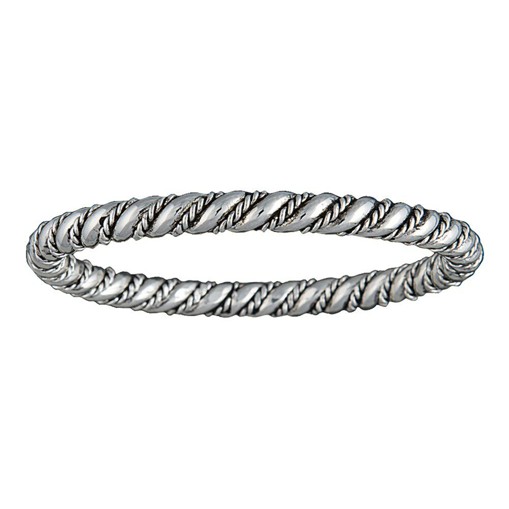Montana Silversmith Silver-Tone Rope and Wire Coil Bangle Bracelet
