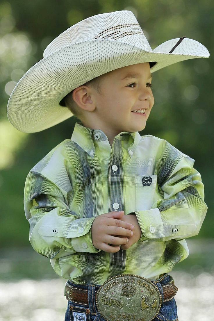 Cinch Toddler Boy's Grey/Lime Green Western Shirt