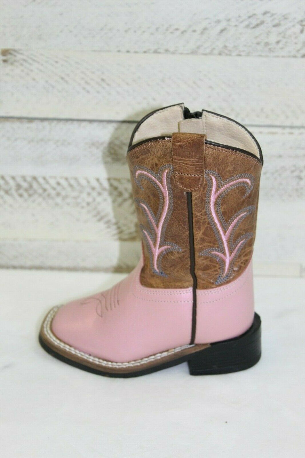 Old West Infant/Toddler Pearl Pink Zippered Square Toe Boots