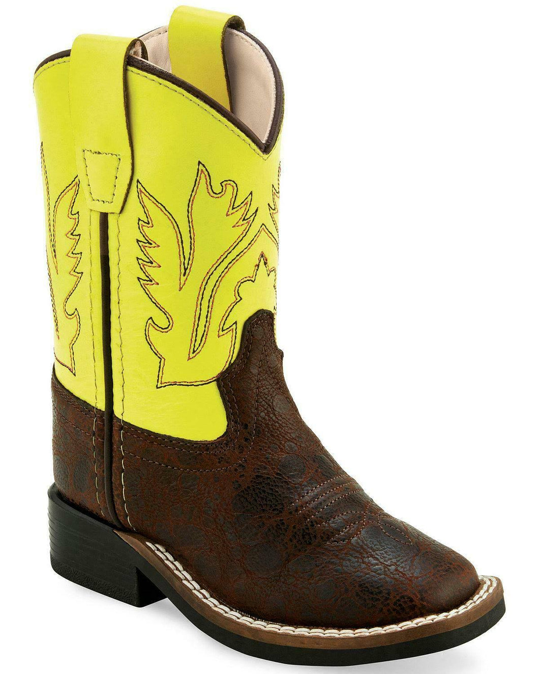 Old West Toddler Brown Square Toe Cowboy Boots with Neon Top