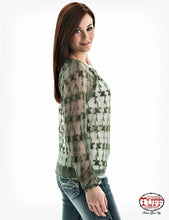 Load image into Gallery viewer, Cowgirl Tuff Women's Deep Green Crochet Lace Blouse