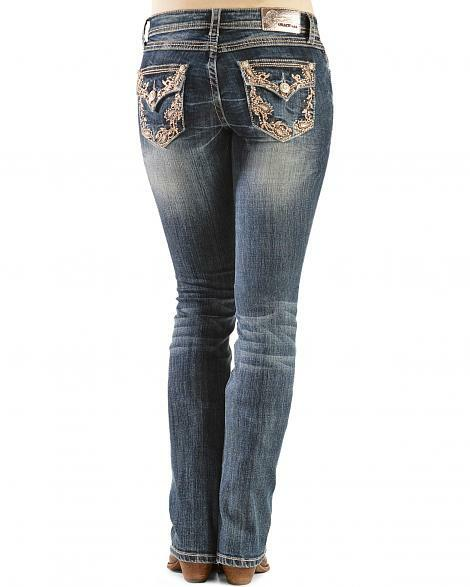 Grace in LA Paisley Vine Embellished Boot Cut Jeans