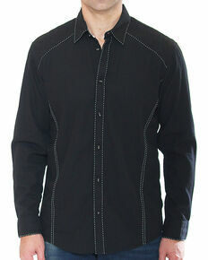 Austin Season Men's Black Long Sleeve Contrast Stitching Button Down Shirt