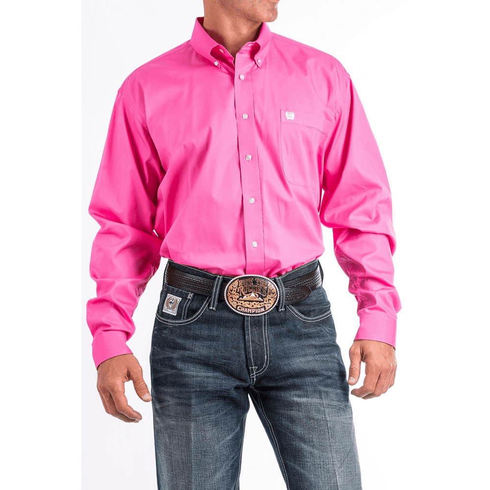 Cinch Men's Solid Pink Button Down Shirt