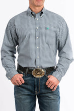 Load image into Gallery viewer, Cinch Men's Navy/Green Plaid L/S Button Western Shirt 3XL