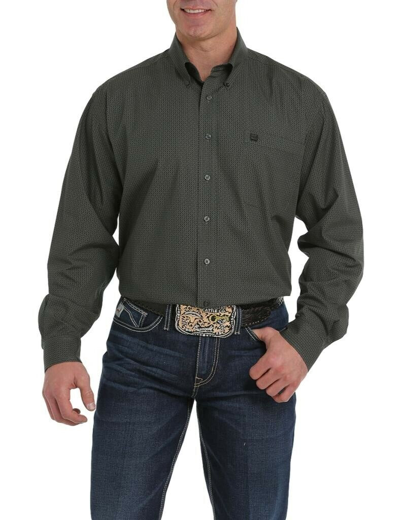 Cinch Men's Olive Mini Geometric Print Western Shirt