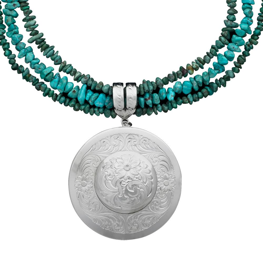 Montana Silversmiths Silver Engraved Concho Pendant With Turquoise