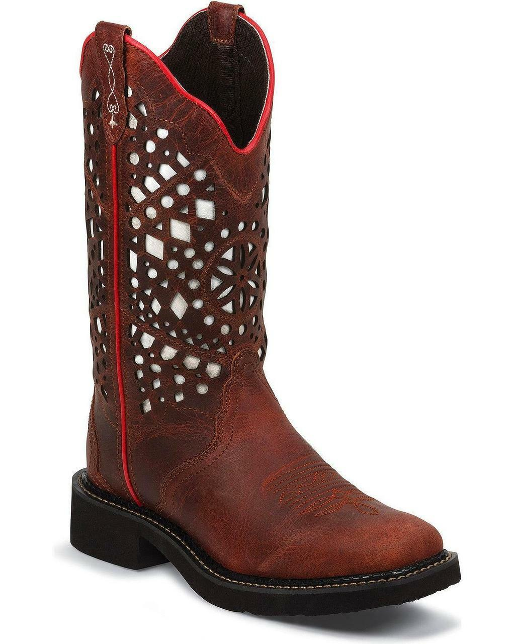 Justin Women's Gypsy Redwood Buffalo Laser Cut Cowgirl Boot