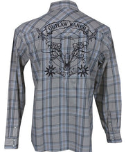 Load image into Gallery viewer, Cowboy Hardware Outlaw Ranch Embroidered  L/S Khaki Plaid Men's Shirt