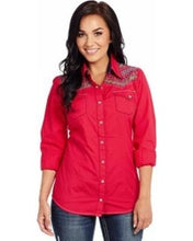 Load image into Gallery viewer, Cowgirl Up Women's Enzyme Washed Embroidered Western Shirt (Free Shipping)