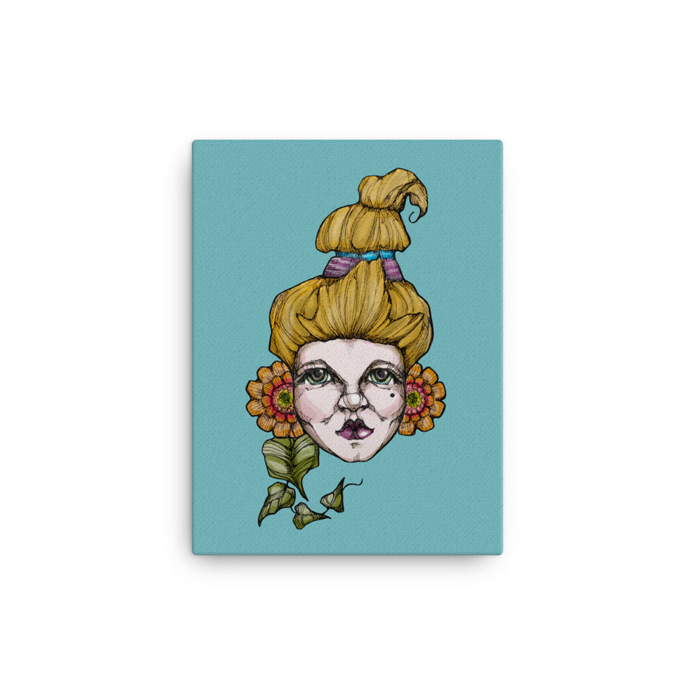 Girl 6 Coloured - Canvas (Print)