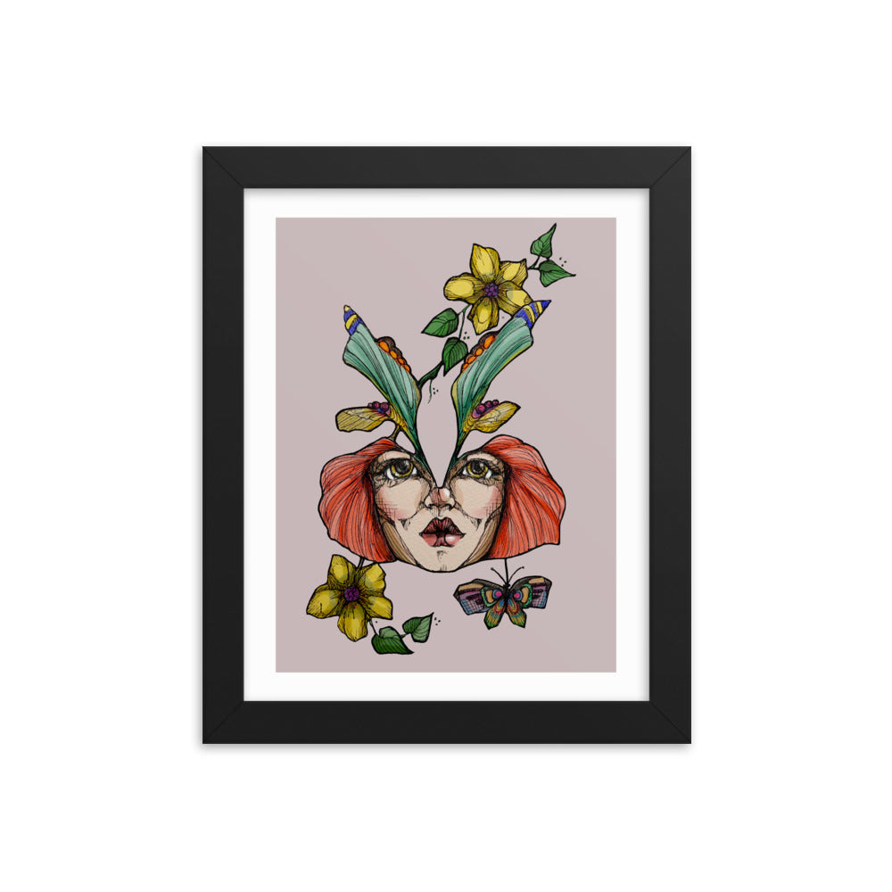 Girl 3 Coloured - Framed poster (Print)