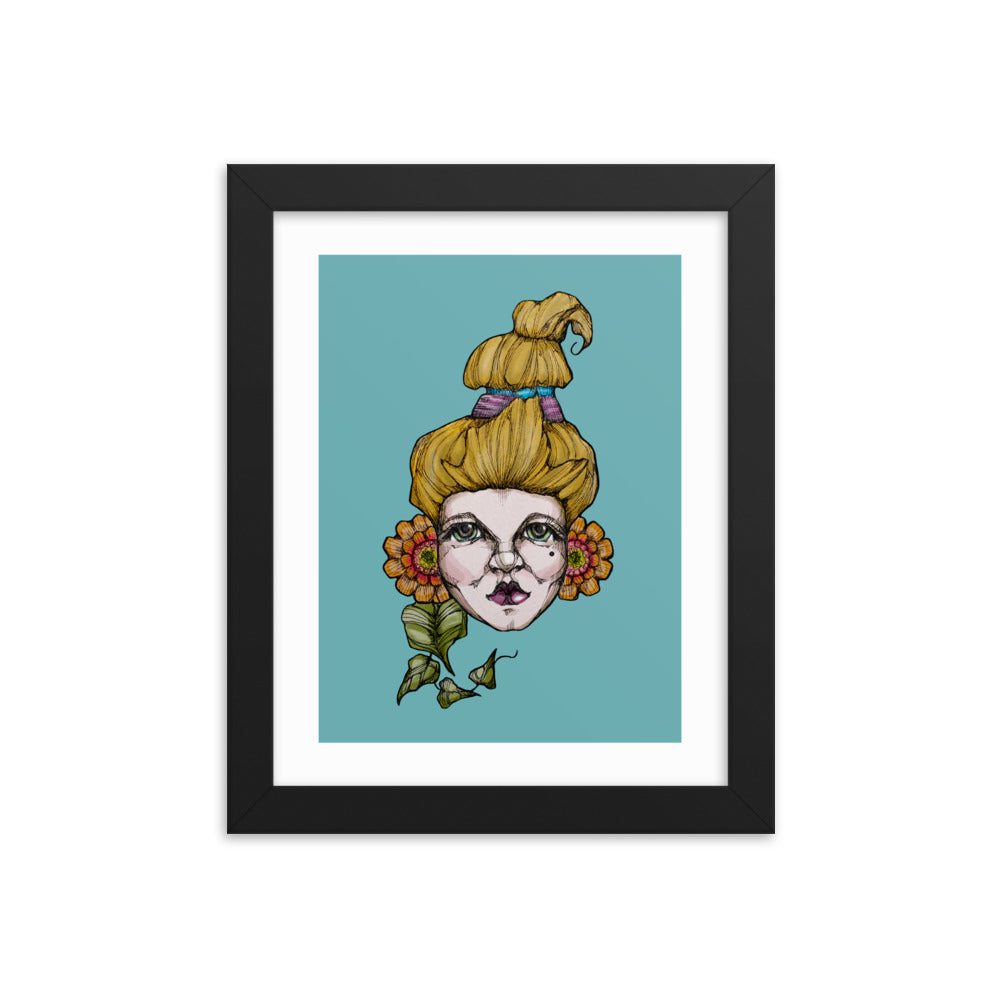 Girl 6 Coloured - Framed poster (Print)