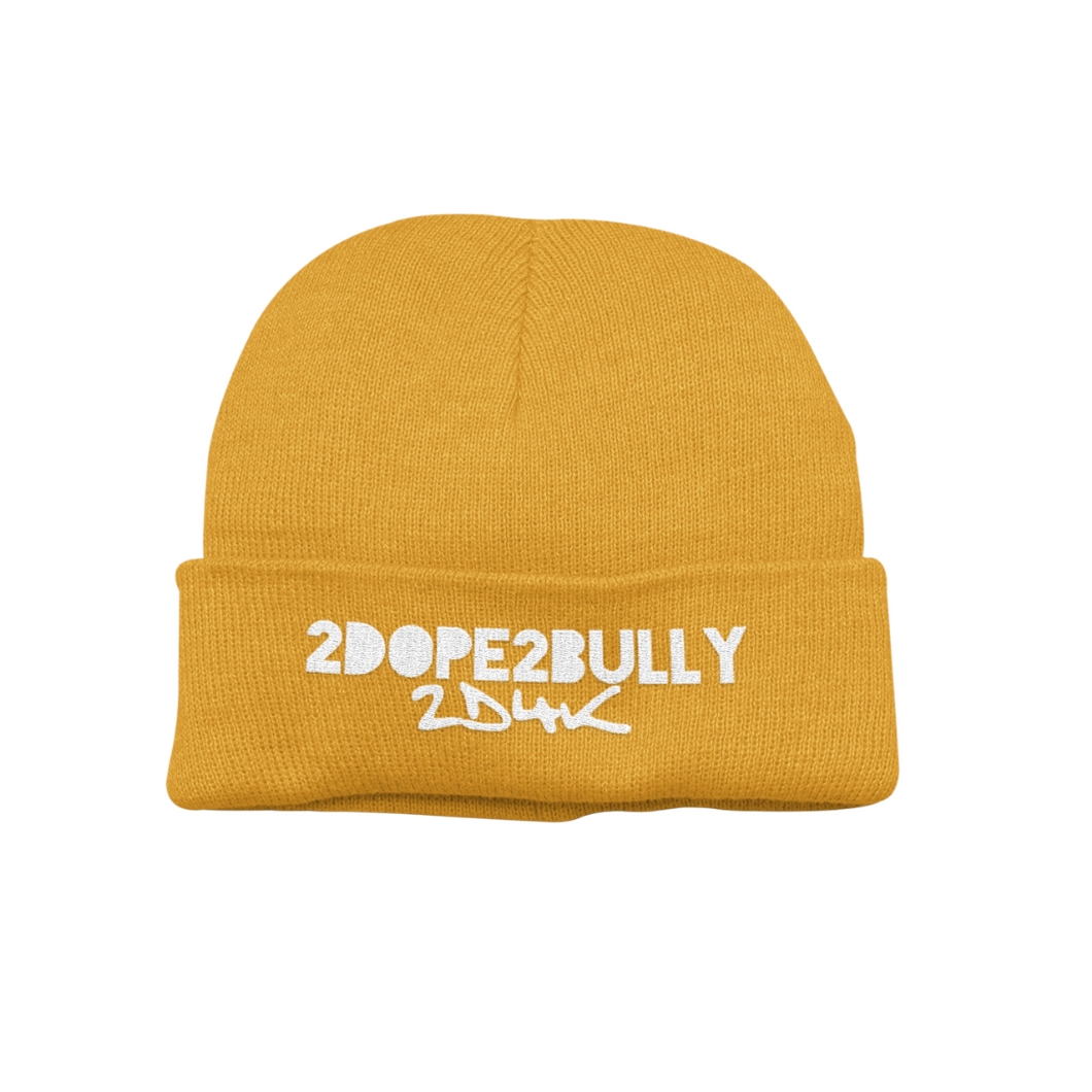 No Bullies Allowed Beanie - Yellow - 2dope4kidz.myshopify.com