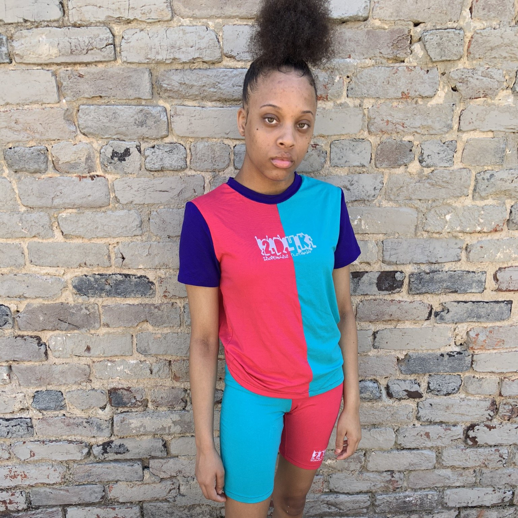 Back In The Day Colorblock Shirt (Female) - Blue/Pink/Purple - 2dope4kidz.myshopify.com