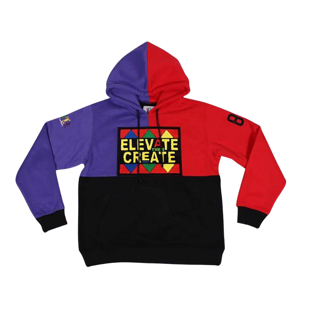 Elevate Then Create Colorblock Hoodie - Purple/Red/Black - 2dope4kidz.myshopify.com
